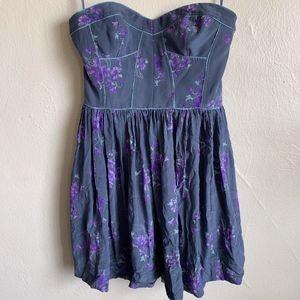 Rebecca Taylor Silk Floral Charlie Strapless Dress